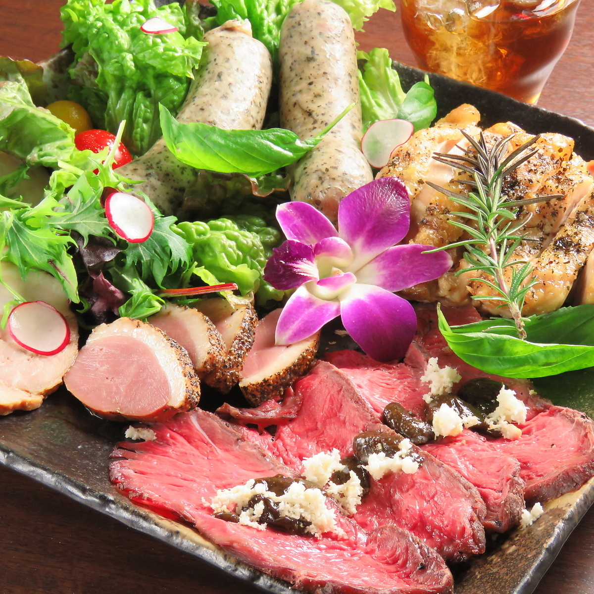Low temperature cooked meat assortment
