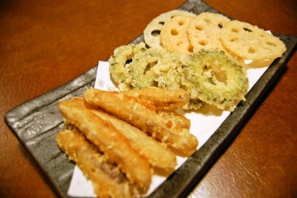 Deep fried burdock with goya and lotus root