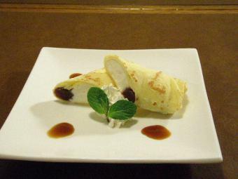녹차 아이스크림의 일본식 크레페