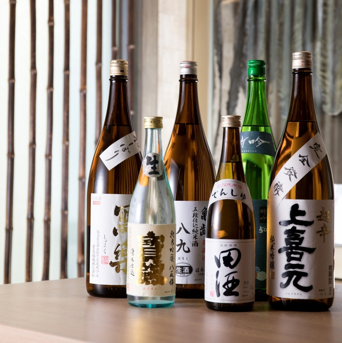 We offer 10 to 12 kinds of local sake selected carefully.