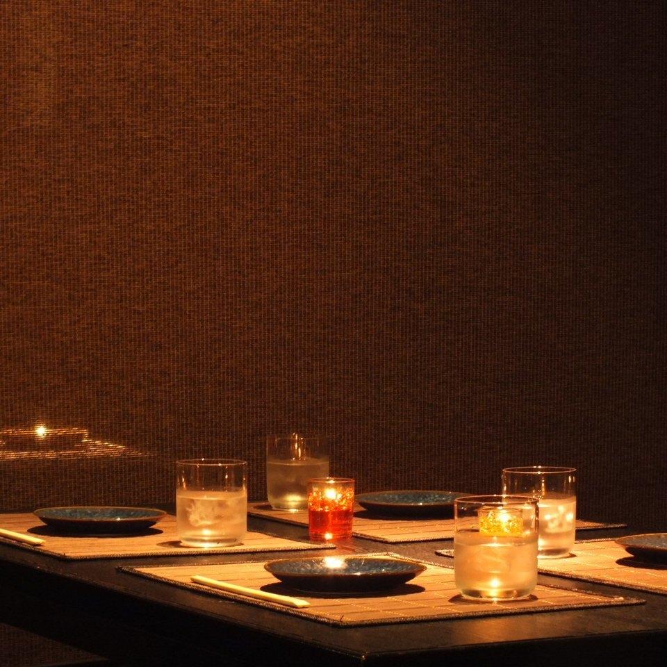 雰囲気自慢の半個室テーブル席