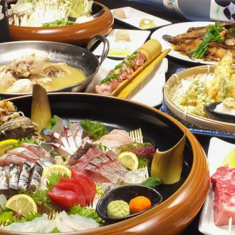 Kaikoya enjoyment course ◆ 4000 yen ◆ 2 hours 30 minutes with all you can drink ◆ Special selection! Sashimi prime, charcoal grilling of chicken, selection of two pots