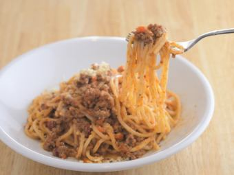 Bolognese (meat saused with red wine and vegetables thoroughly)