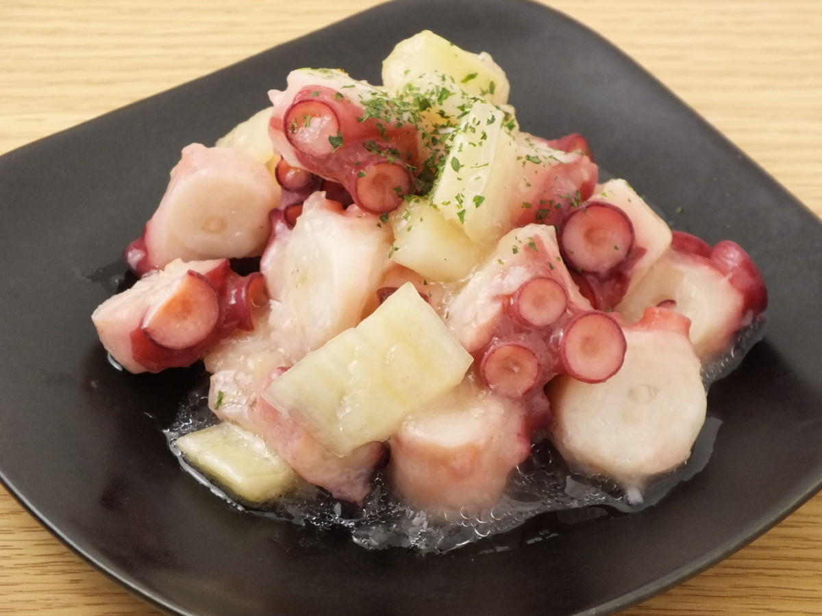 Marinated octopus and celery