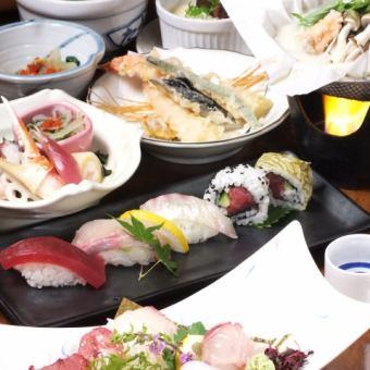 [수화 과정] 생선회 · 튀김 · 초밥과 제철 식재료를 듬뿍 즐길 수있다! 총 8 종 4500 엔