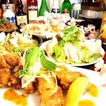 【3小時】所有你可以喝+ 10道菜+烤雞肉串或火鍋所有你可以吃所有2999日元(含稅)櫻花全開課程我們最受歡迎的一個
