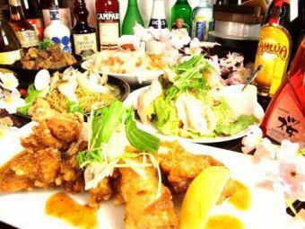 【3小时】所有你可以喝+ 10道菜+烤鸡肉串或火锅所有你可以吃所有2999日元(含税)樱花全开课程我们最受欢迎的一个