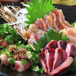 Assortment of chicken sashimi