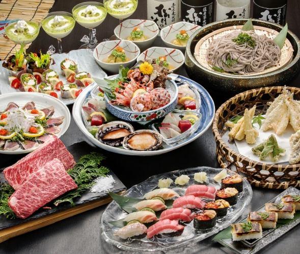 [계절의 연회 (9 월 ~)】 6,000 엔 음료 뷔페 포함 코스! ☆ 요리 9 종 ☆