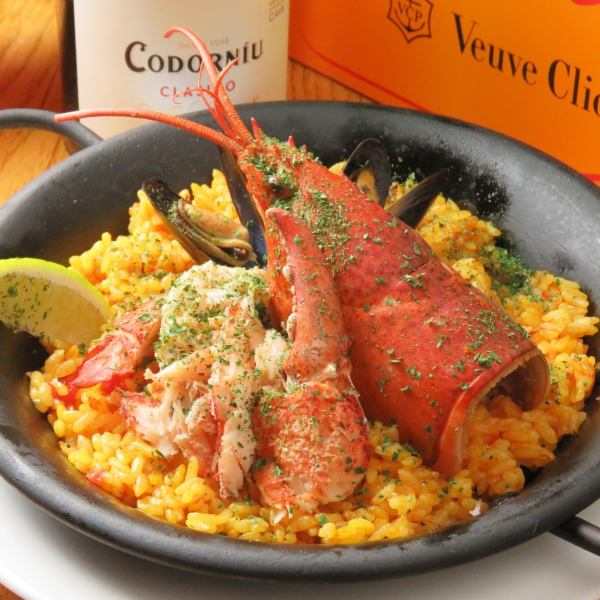 Paella with plenty of Valencian style seafood