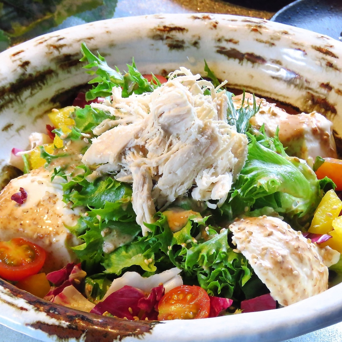 Softly steamed chicken and homemade tofu sesame sauce salad