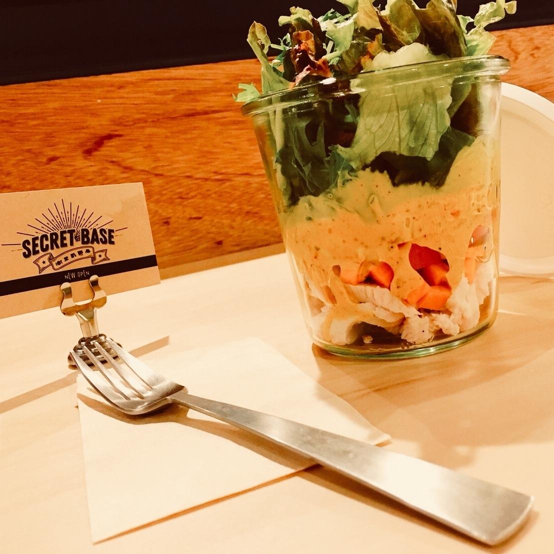 蒸し鶏と彩野菜のジャーサラダ