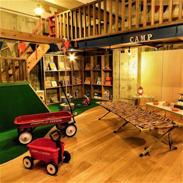 キャンプスペースは子供と一緒に楽しむことも!鹿児島で見たことないアスレチックなお店です!
