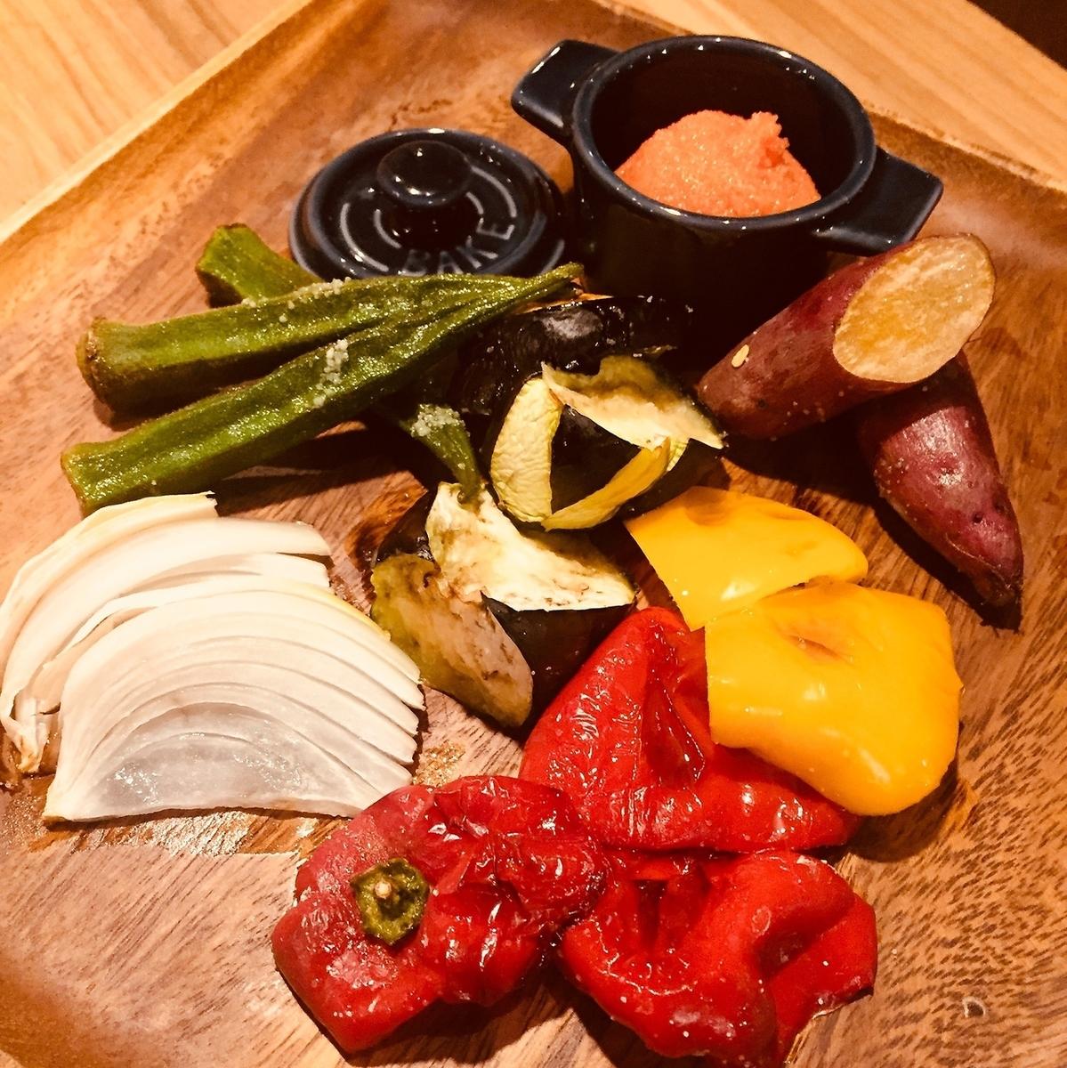 グリル野菜の明太子ディップ