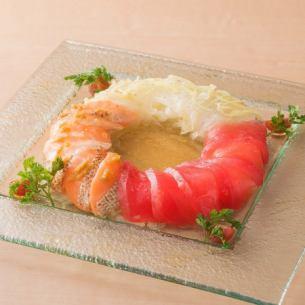 出汁の効いたお魚カルパッチョ3種盛り合わせ