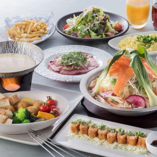 «치즈 퐁듀가 간편하게 먹을 수있는 »3 시간 음료 뷔페 포함 【7 품】 스탠다드 플랜 ◆ 3500 엔