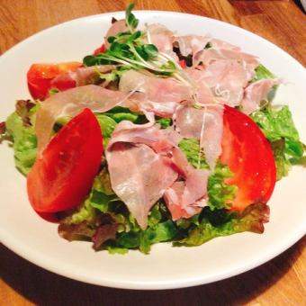 Spanish hamon Serrano's raw ham salad