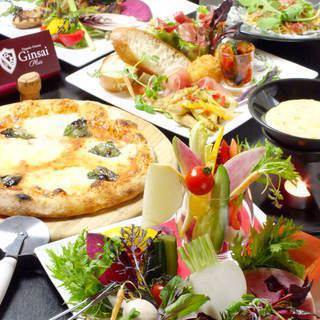 【烹飪專用課程】在銀座的休閒空間享用晚餐!所有七種食品,如意大利面,四種開胃菜,使用時令食材