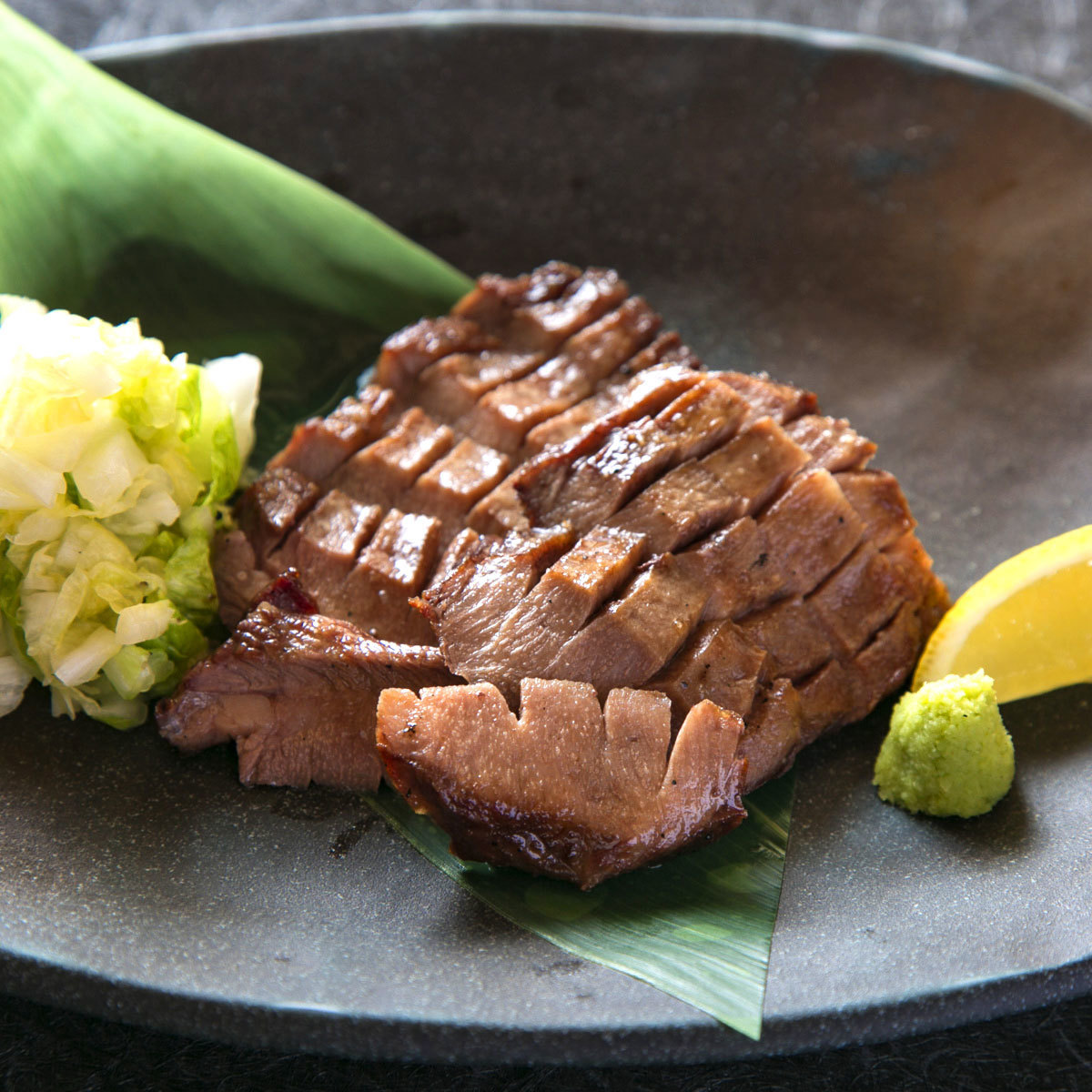 Grilled salt-aged beef tongue