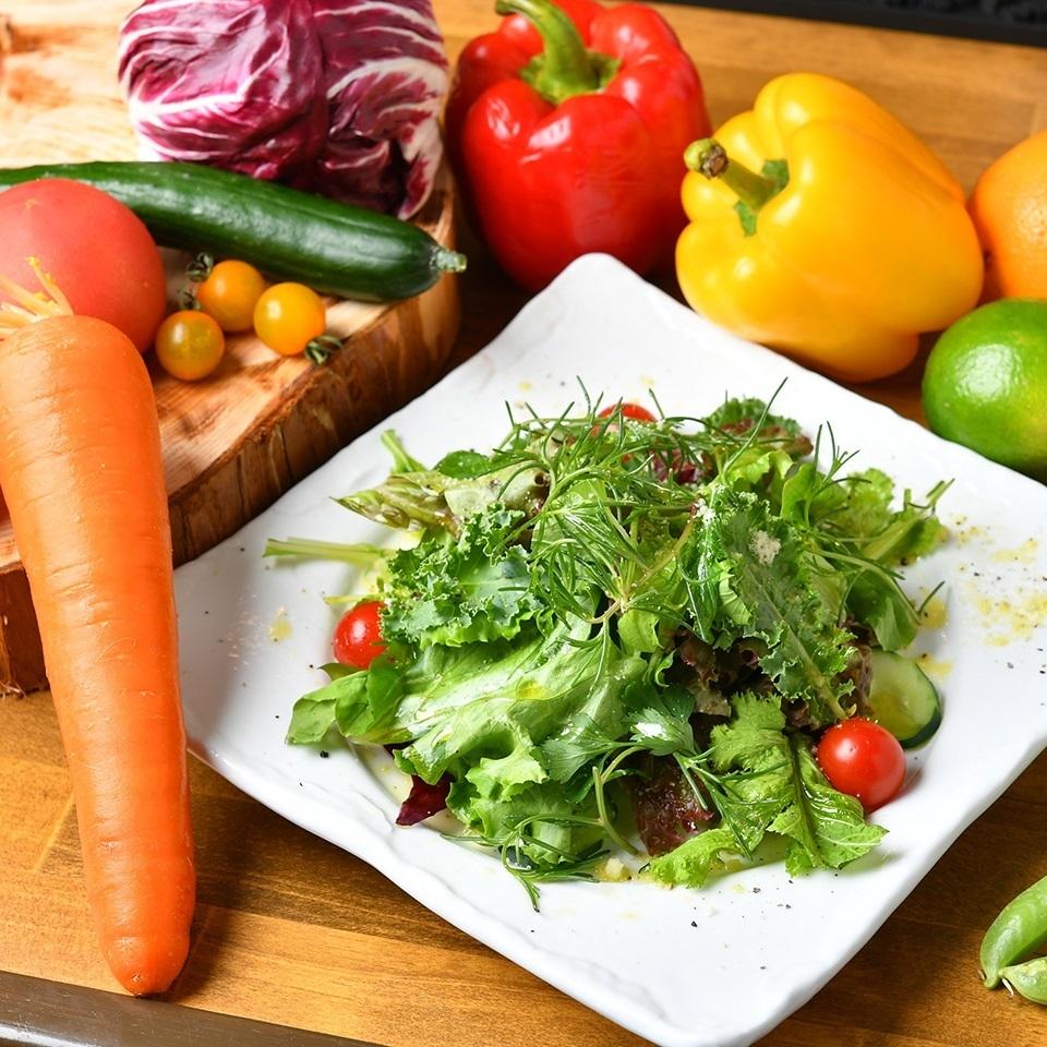 オーガニック野菜のグリーンサラダ~グレープフルーツドレッシングで~