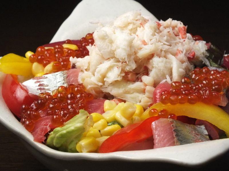 時令海鮮和豐富的蟹肉沙拉