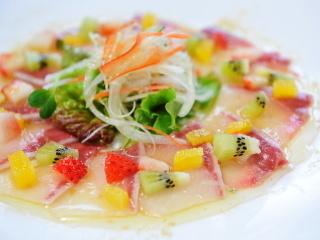White fish, salmon carpaccio