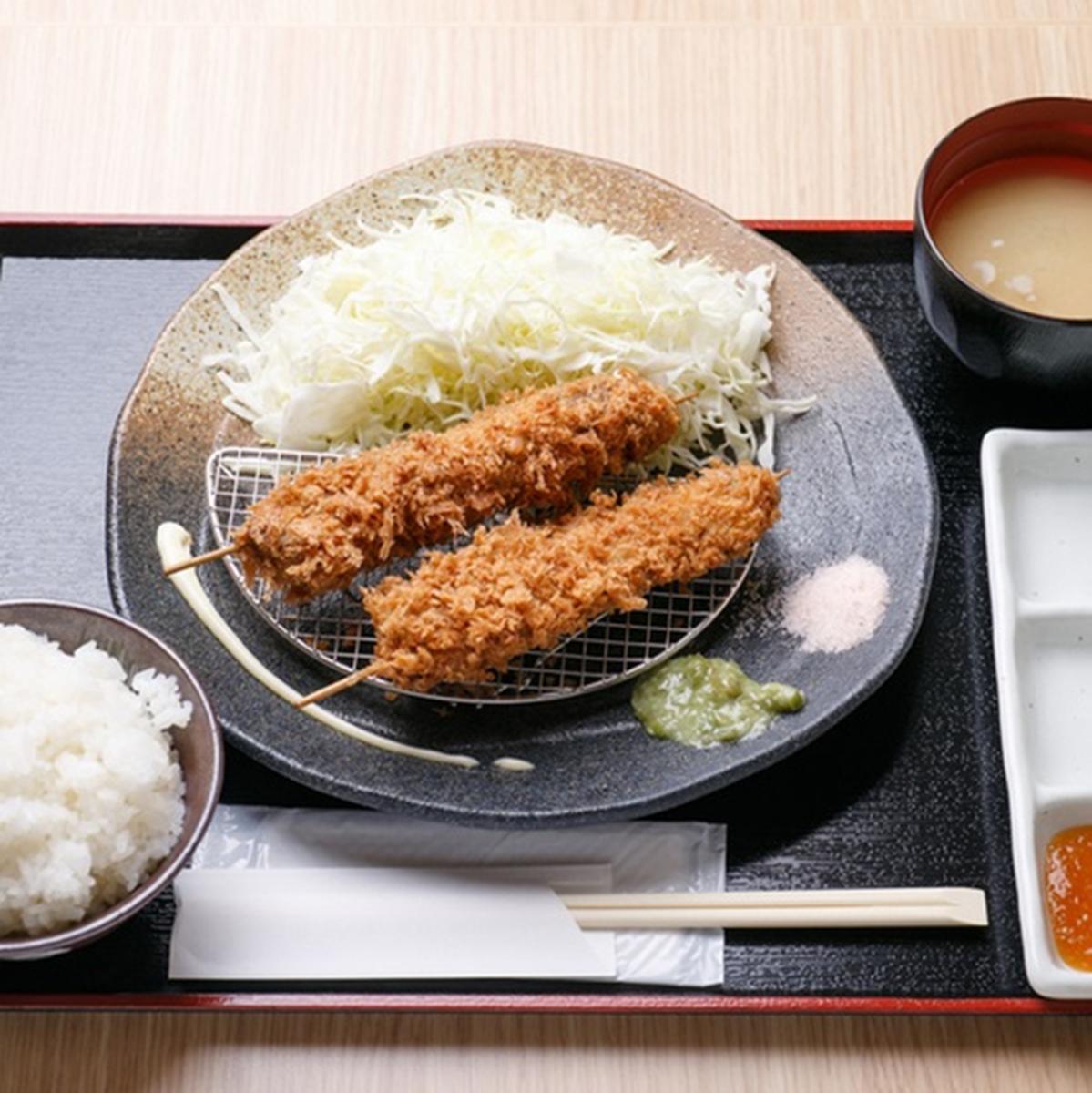 牛串かつ定食(二本)