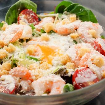 Shrimp and warm ball Caesar salad