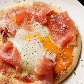 Bismarck with raw ham and hot spring egg