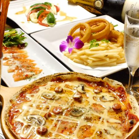 Every night from 21 o'clock - 2 h [drinking] + 5 cuisine secondary course 2500 yen