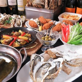 【Farewell party】 All-you-can-eat oyster baked & baked oysters 90 minutes 【oyster shabu-shab set】 4980 yen