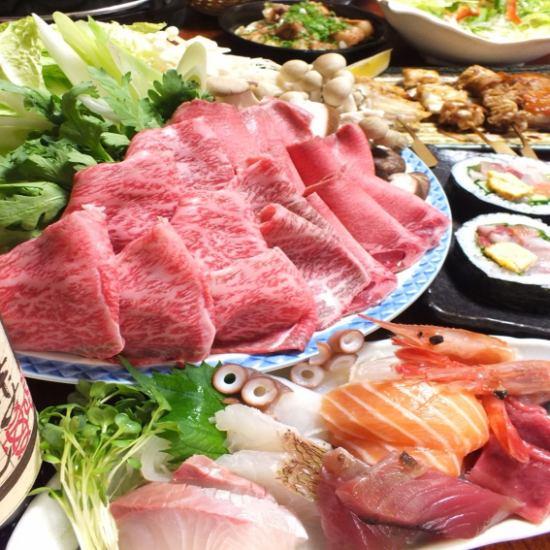 A shop where you can enjoy roasted roast meat! Popular in winter, Motsu pot, Qua pot, Wagyu sukiyaki are popular (^. ^)