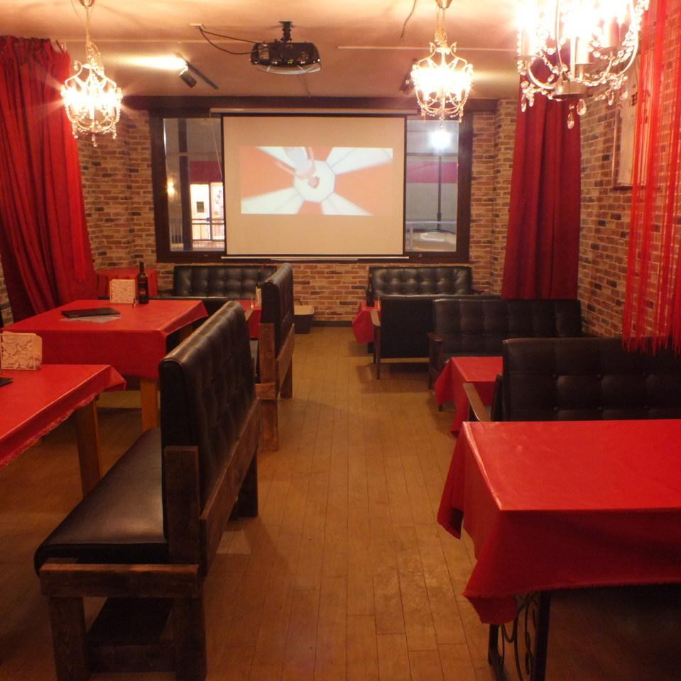 15到60位客人的私人空間OK派對OK !! 100英寸深度電力投影機吸引♪橋本意大利人