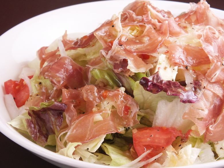 Raw ham and salad
