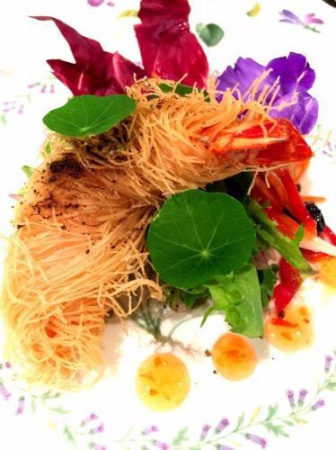 Fried shrimp with kaidaifu -garden salad ~