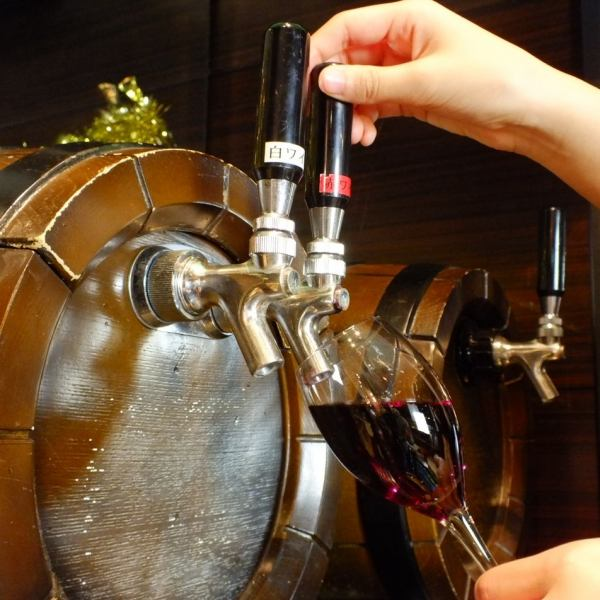 Our wine barrel raw wine! Enjoy the freshly refreshing fragrance and taste ♪ For course all you can drink on here is also a barrel raw wine OK!