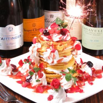 ★ ☆ Birthday ☆ ★ Looks also gorgeous pancake tower ♪ 1600 yen using coupon ⇒ 1,000 yen (excluding tax)