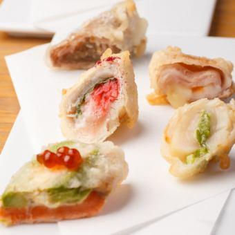 """不需要""""中午有限的""""預約!你的菜和創意天婦羅3600日元課程(蝦,蔬菜,創造天使)"""