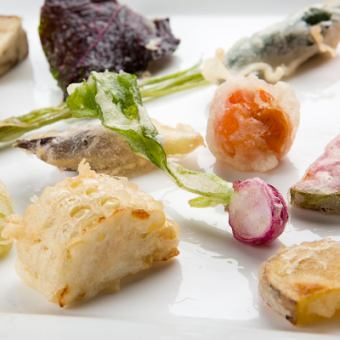【Recommended! 6 kinds of vegetable tempura & 3 kinds of fresh seafood tempura with dessert】 Gourmet course 3800 yen