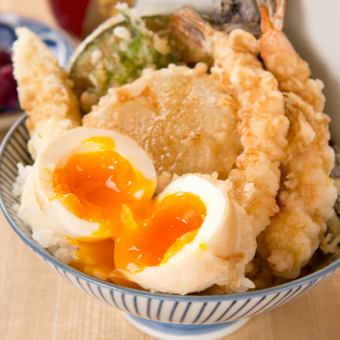 """Weekday service lunch quantities limited"" Shrimp, semi-mature eggs tempura fresh special meal bowls (4 kinds of vegetable tempura with bowl)"