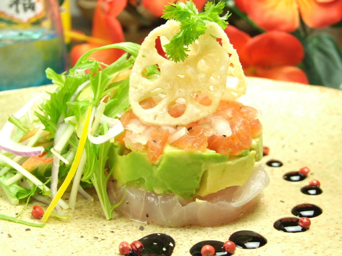 Island fish and avocado millefeuille salad
