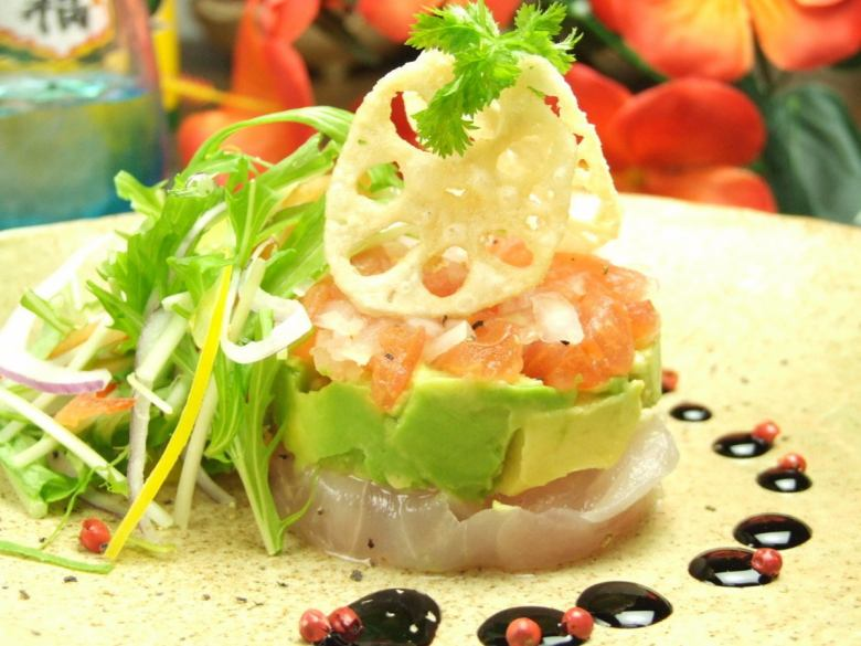 Island of fish and avocado millefeuille salad