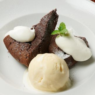 Belgian chocolate thick rich Gateau · chocolat and vanilla ice