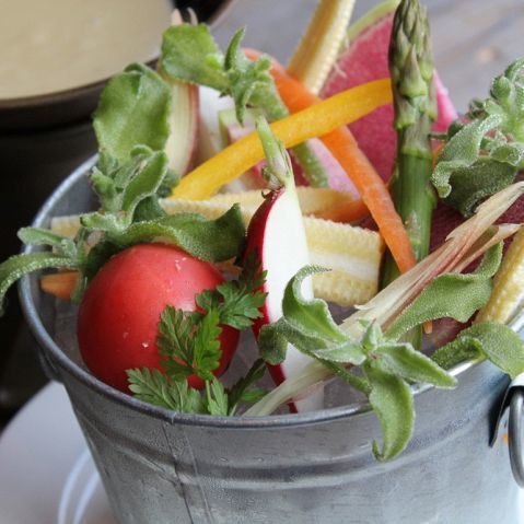 Bucket prime serving Bagna cauda