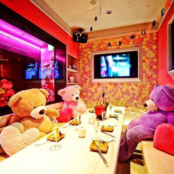 A cute pink private room ♪ From 6 people to a maximum of 10 people OK! Perfect for girls' party or birthday party with Karaoke perfect ☆ You can surprise a private room with a balloon and surprise!
