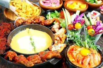 """""""체고 닭고기 코스 '10 종 이상의 유기농 야채를 먹을! <120 분 맘껏 마시기> [7 종 3500 엔】"""