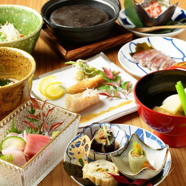 珠玉の和食コース【6,000円】【8,000円】【10,000円】 の3種類/飲み放題付きコースもあり。