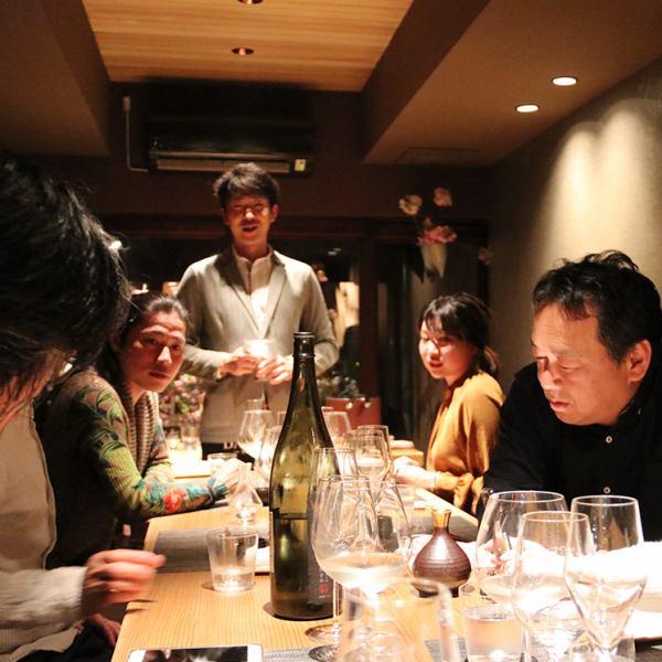 日本酒会やワイン会、お酒と料理を学びながらの贅沢な時間。