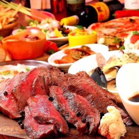 【ディナー!宴会!飲み放題♪】贅沢な肉盛り♪PIZZA食べ放題付き リッチコース(全10品)4500円♪