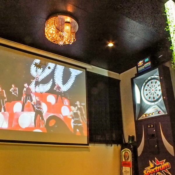 Drink while enjoy! Projector darts facilities are also also sports in equipped ♪ giant screen!